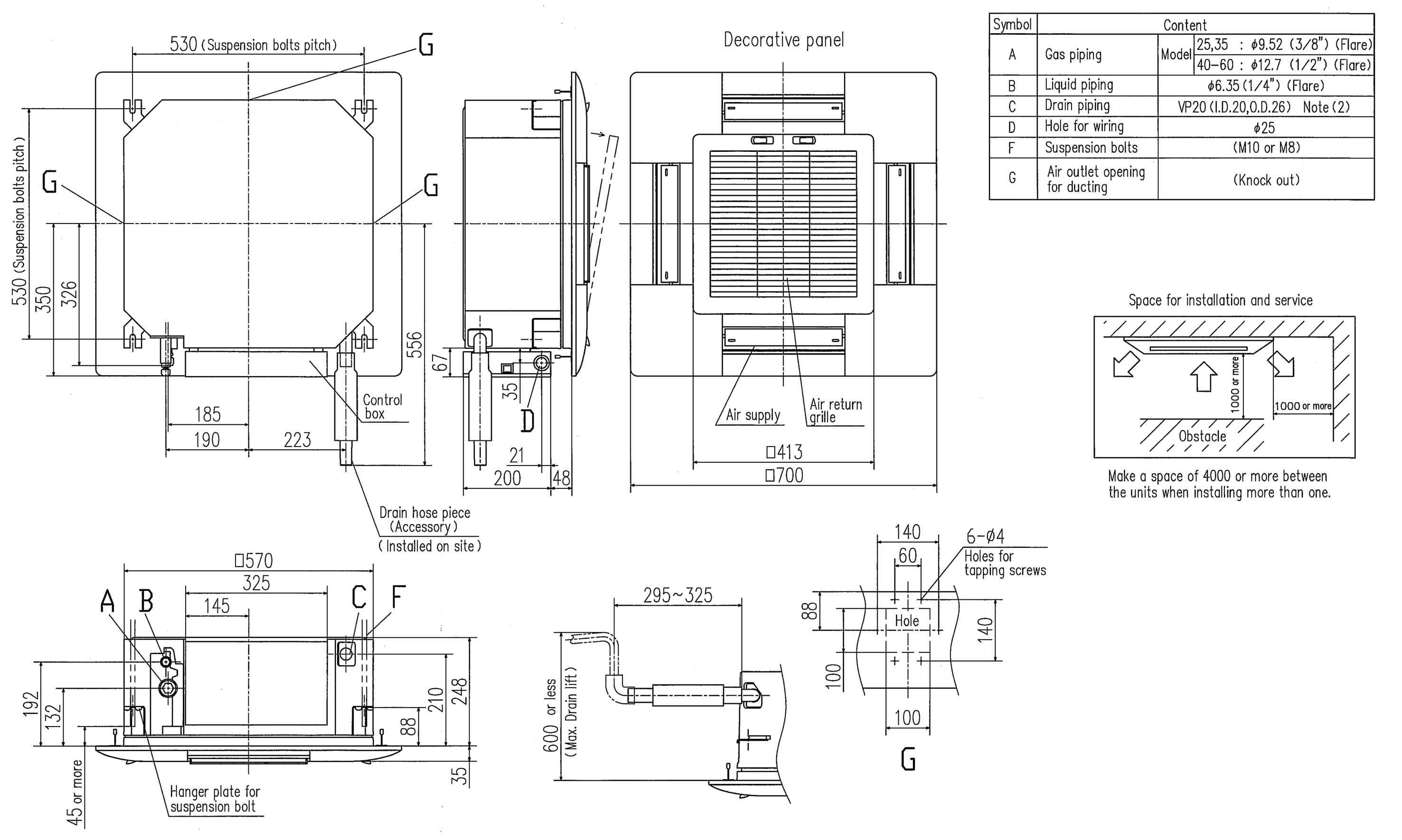 multi indoor units  u2013 rac ceiling cassette    fdtc50vf