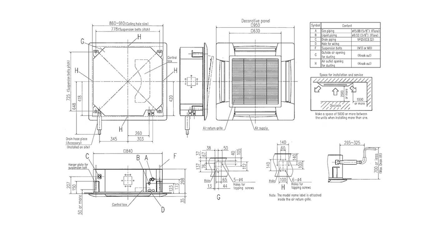 vrf  kx   u2013 ceiling cassette    fdt112kxe6f